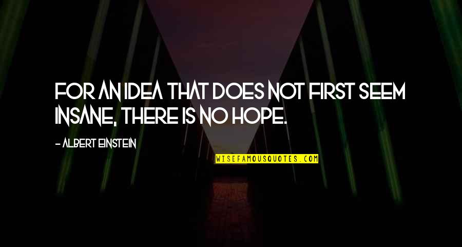 Hope Is For Quotes By Albert Einstein: For an idea that does not first seem