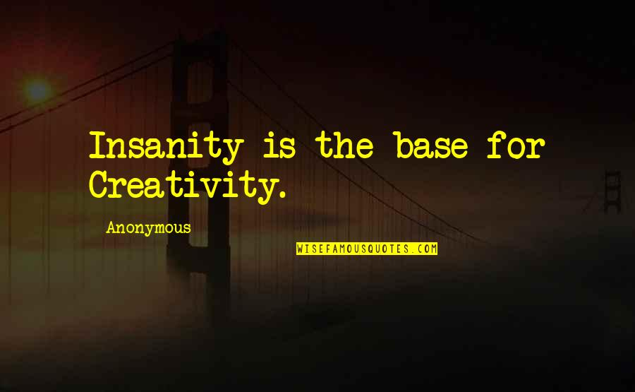 Hope Is For Quotes By Anonymous: Insanity is the base for Creativity.