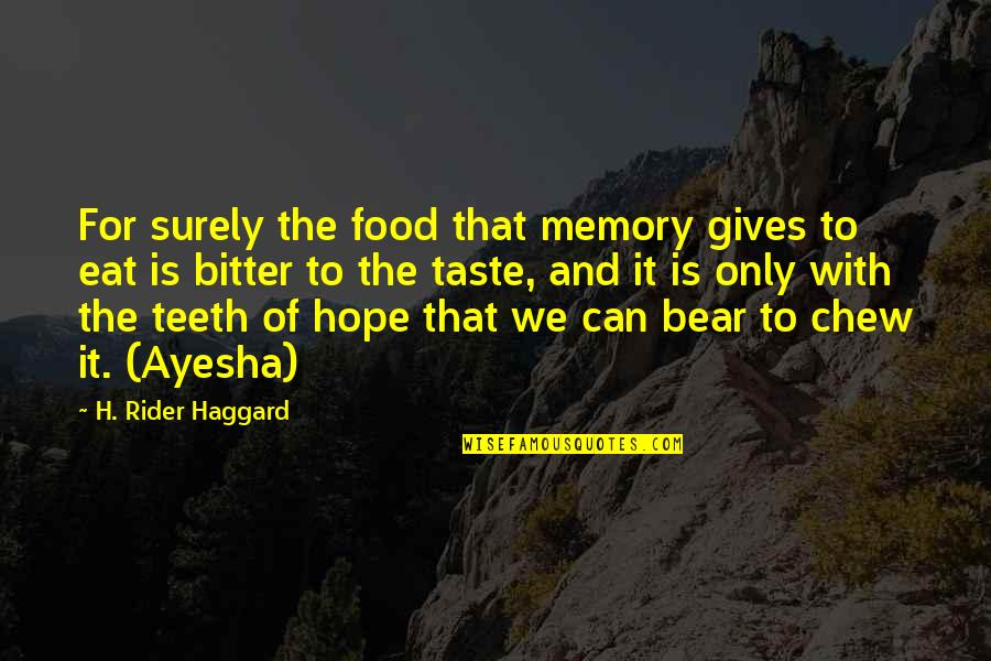 Hope Is For Quotes By H. Rider Haggard: For surely the food that memory gives to