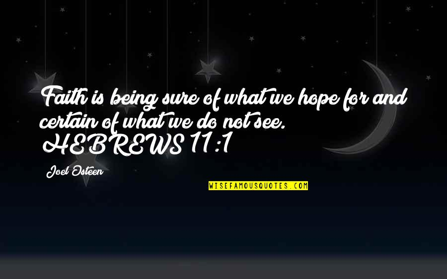 Hope Is For Quotes By Joel Osteen: Faith is being sure of what we hope