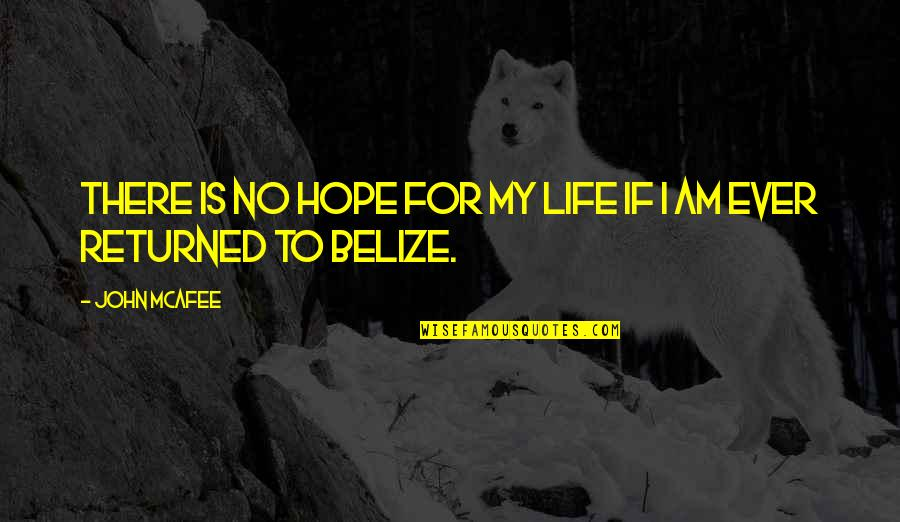 Hope Is For Quotes By John McAfee: There is no hope for my life if