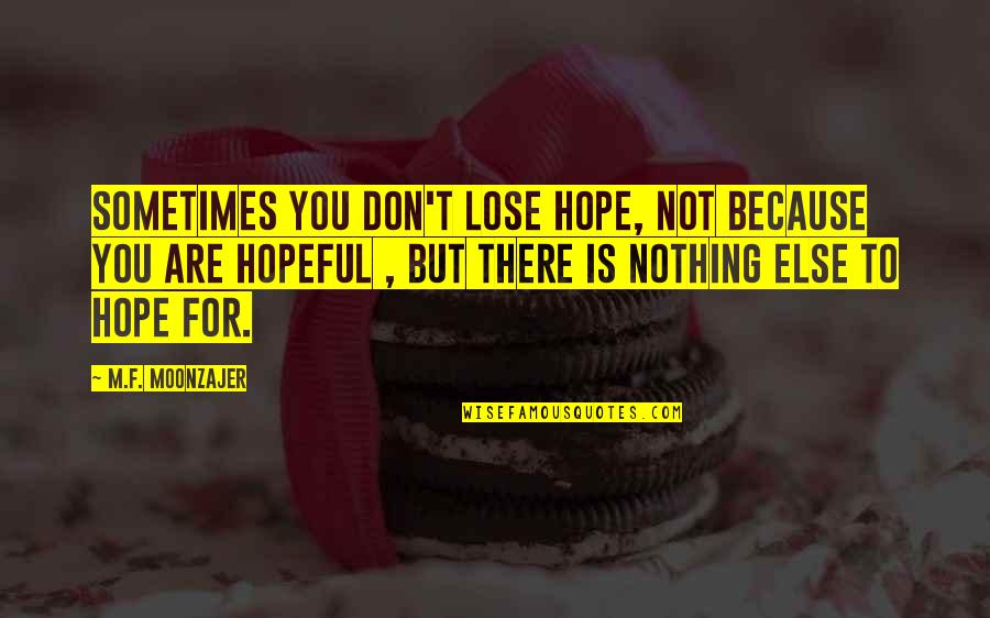 Hope Is For Quotes By M.F. Moonzajer: Sometimes you don't lose hope, not because you
