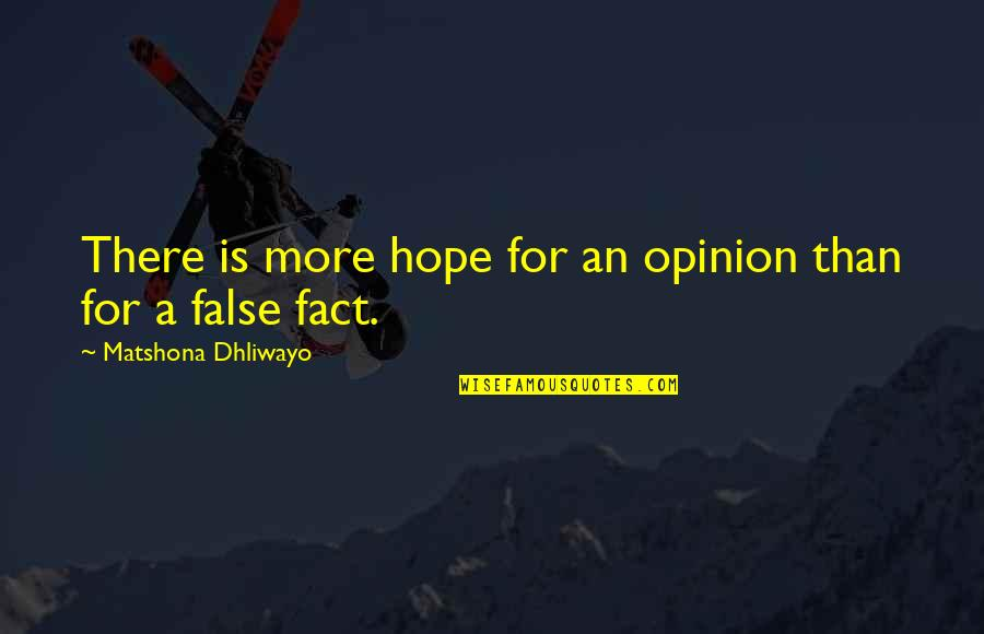 Hope Is For Quotes By Matshona Dhliwayo: There is more hope for an opinion than