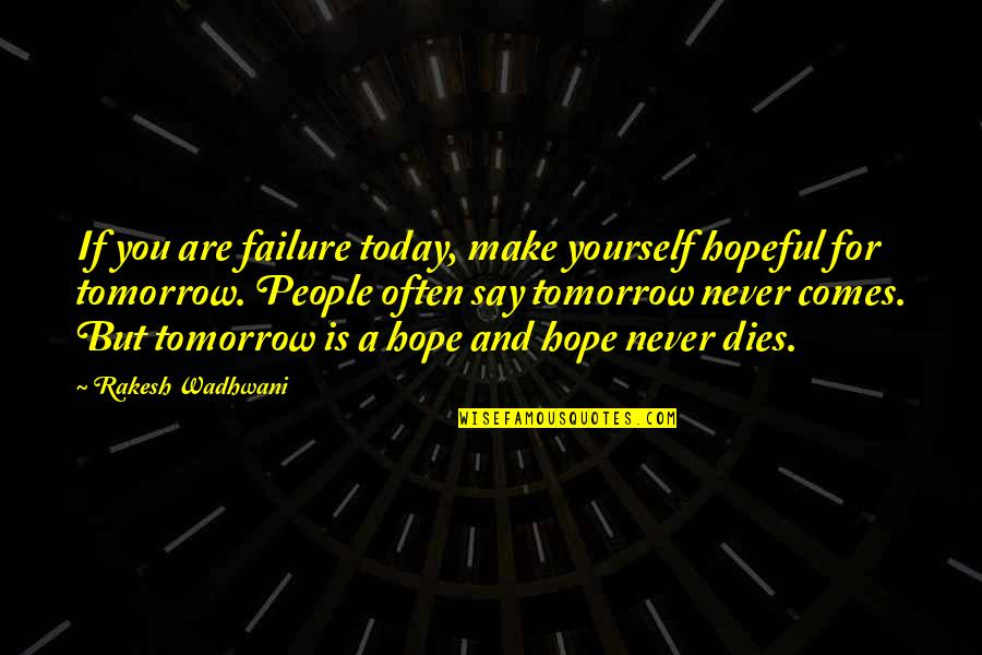 Hope Is For Quotes By Rakesh Wadhwani: If you are failure today, make yourself hopeful