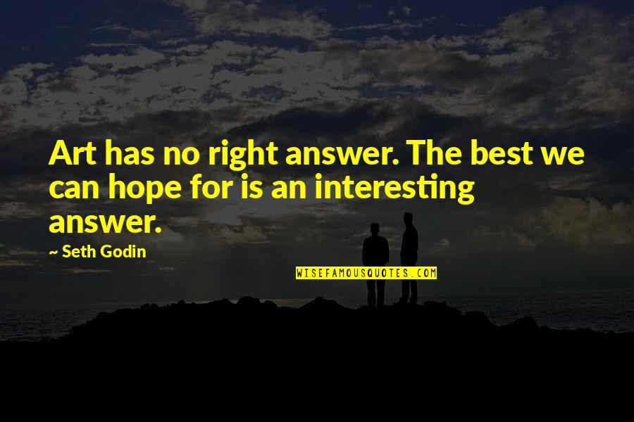 Hope Is For Quotes By Seth Godin: Art has no right answer. The best we