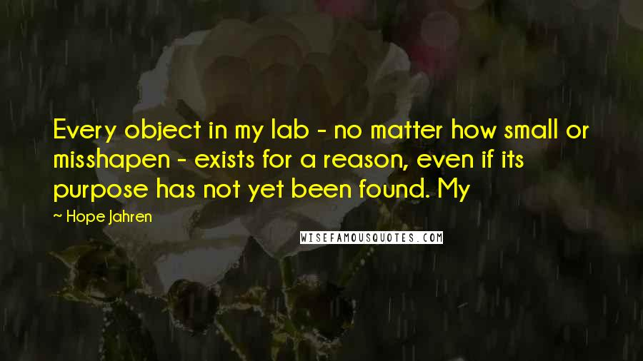 Hope Jahren quotes: Every object in my lab - no matter how small or misshapen - exists for a reason, even if its purpose has not yet been found. My