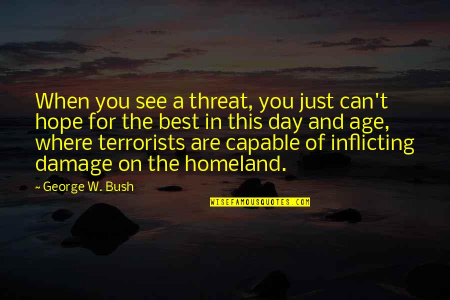 Hope The Best For You Quotes By George W. Bush: When you see a threat, you just can't