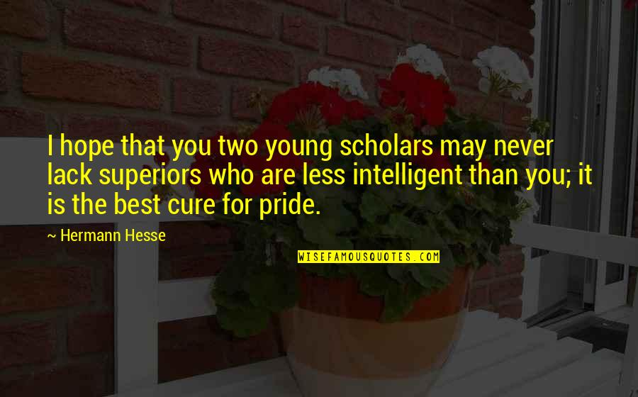 Hope The Best For You Quotes By Hermann Hesse: I hope that you two young scholars may