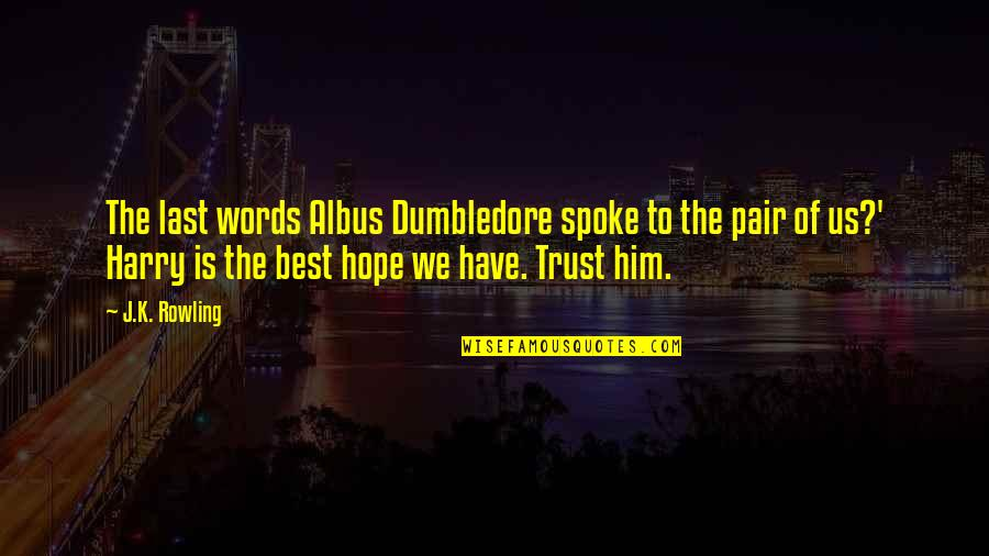 Hope To Quotes By J.K. Rowling: The last words Albus Dumbledore spoke to the