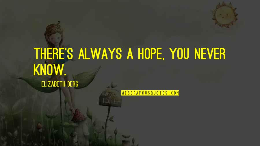 Hope You Know Quotes By Elizabeth Berg: there's always a hope, you never know.