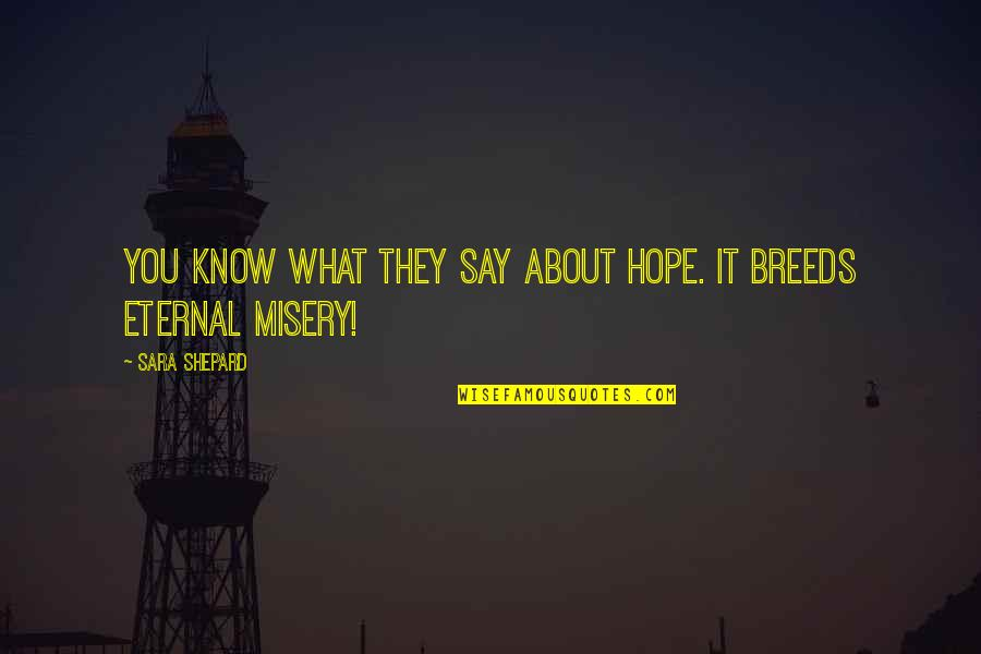 Hope You Know Quotes By Sara Shepard: You know what they say about hope. It