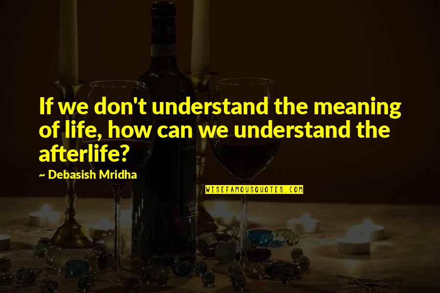 Hope You'll Understand Quotes By Debasish Mridha: If we don't understand the meaning of life,