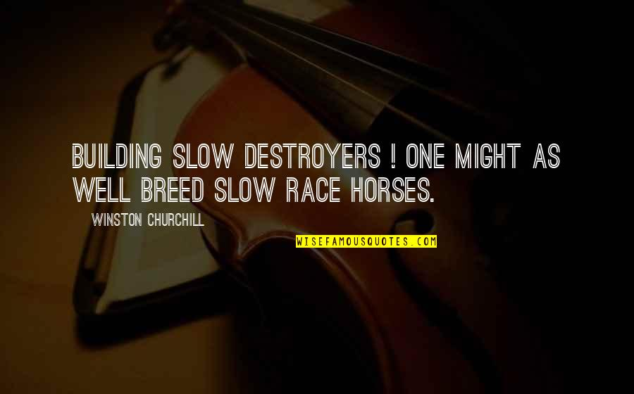 Horses Winston Churchill Quotes By Winston Churchill: Building slow destroyers ! One might as well