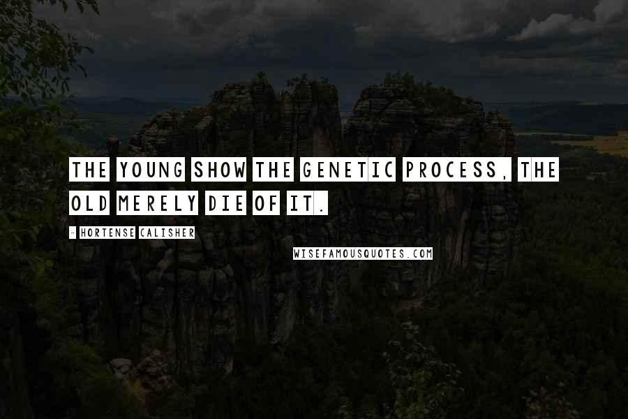 Hortense Calisher quotes: The young show the genetic process, the old merely die of it.