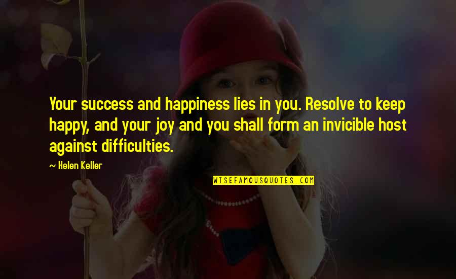 Host Quotes By Helen Keller: Your success and happiness lies in you. Resolve