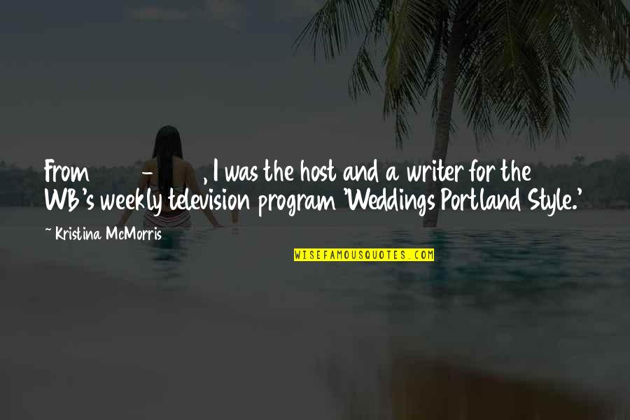Host Quotes By Kristina McMorris: From 2001-2008, I was the host and a