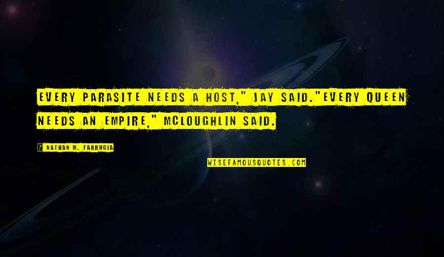 """Host Quotes By Nathan M. Farrugia: Every parasite needs a host,"""" Jay said.""""Every Queen"""