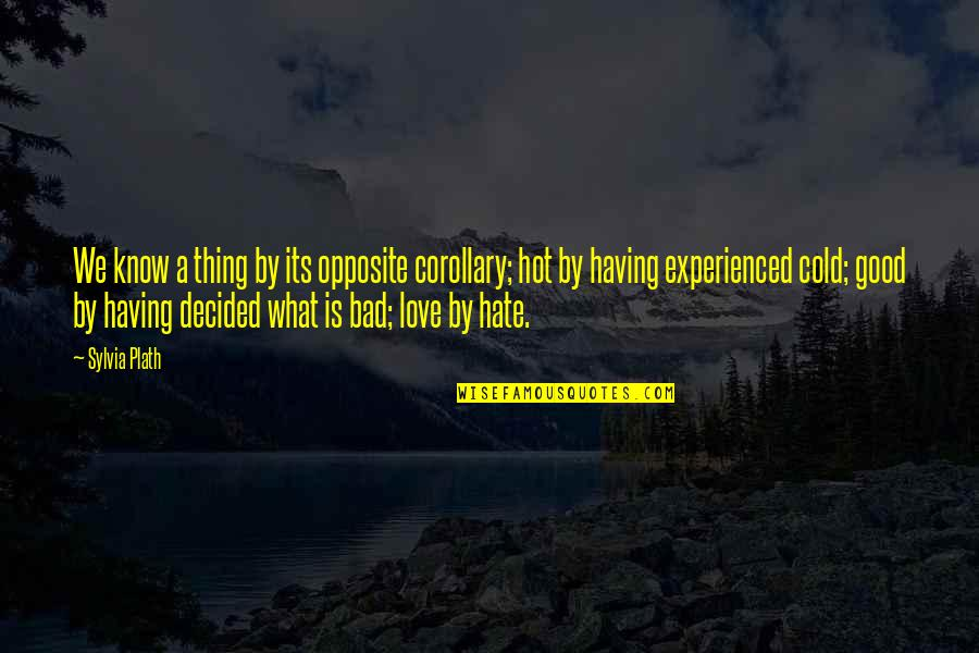 Hot Love Quotes By Sylvia Plath: We know a thing by its opposite corollary;