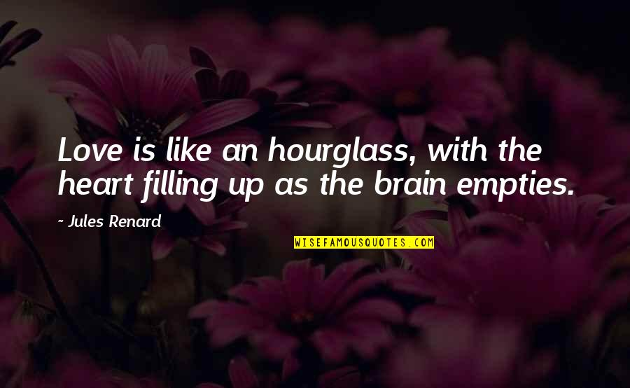 Hourglass Quotes By Jules Renard: Love is like an hourglass, with the heart