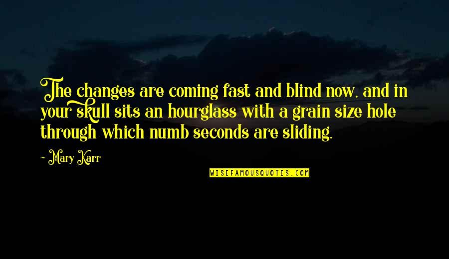 Hourglass Quotes By Mary Karr: The changes are coming fast and blind now,