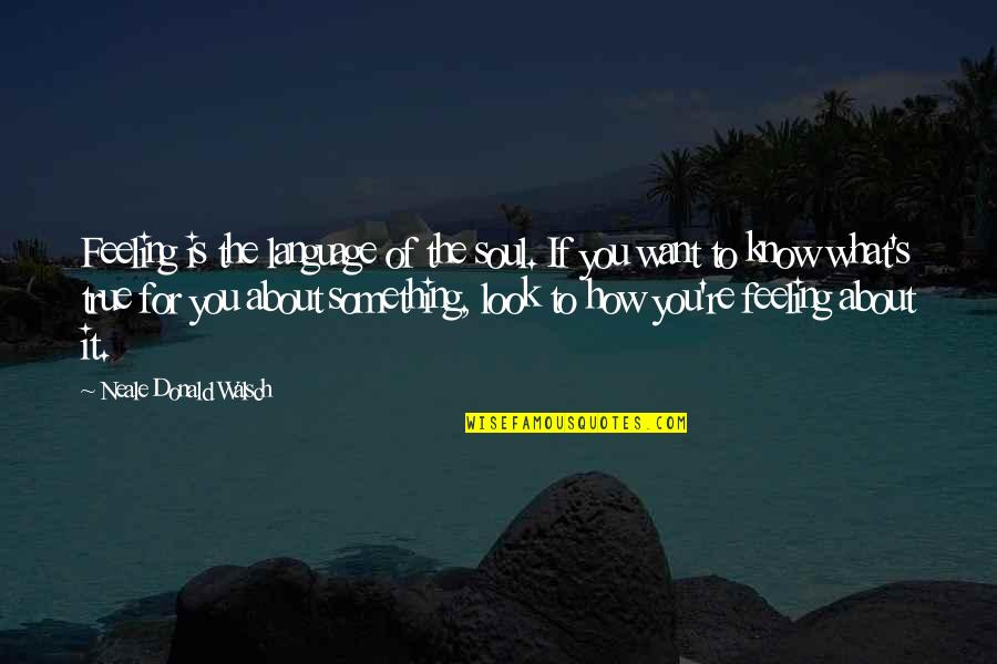 How Are U Feeling Quotes By Neale Donald Walsch: Feeling is the language of the soul. If