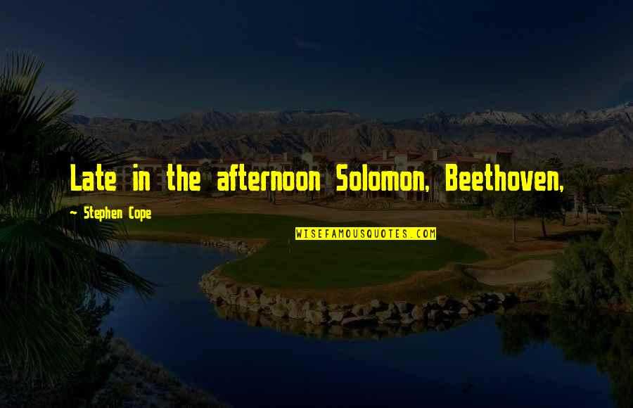 How I Feel Today Quotes By Stephen Cope: Late in the afternoon Solomon, Beethoven,