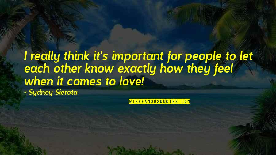 How I Feel When I'm With You Quotes By Sydney Sierota: I really think it's important for people to