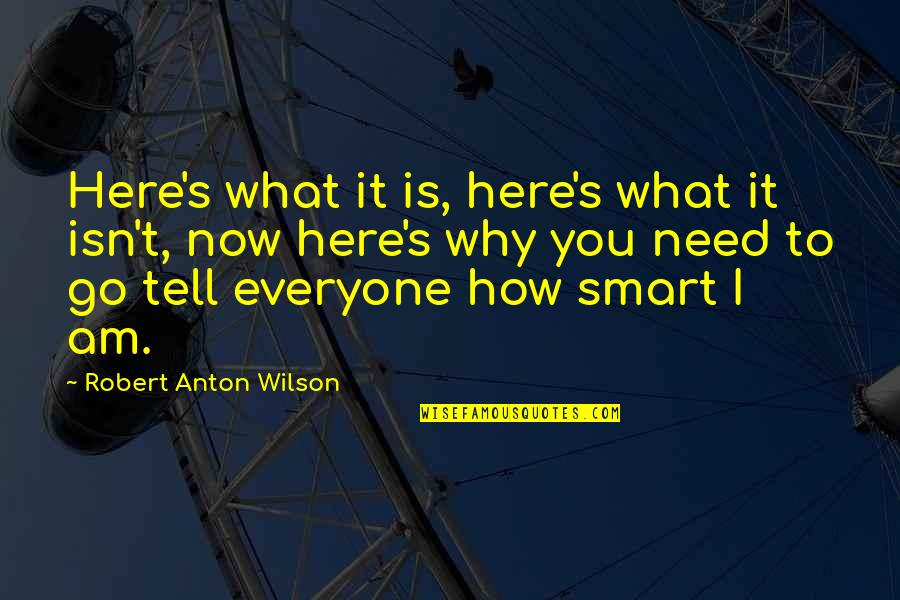 How I Need You Quotes By Robert Anton Wilson: Here's what it is, here's what it isn't,