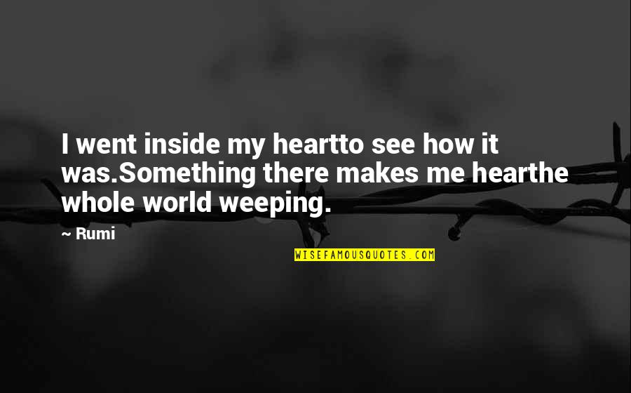 How I See The World Quotes By Rumi: I went inside my heartto see how it