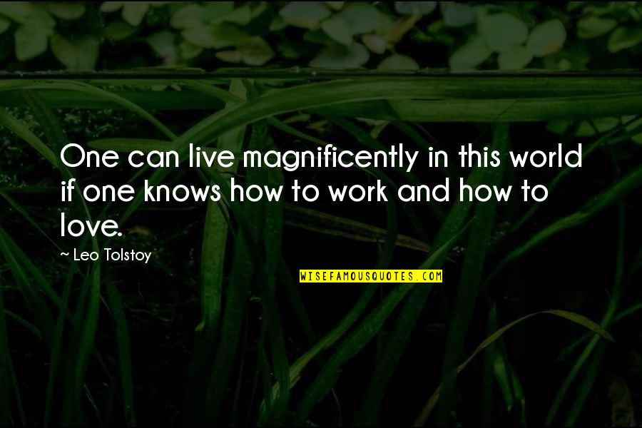 How To Live Without Love Quotes By Leo Tolstoy: One can live magnificently in this world if