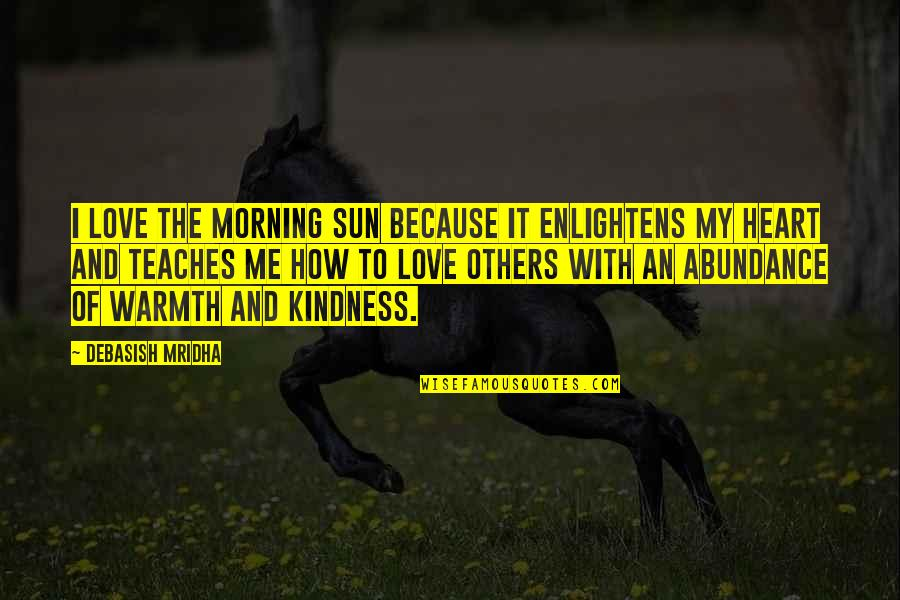 How To Love Me Quotes By Debasish Mridha: I love the morning sun because it enlightens