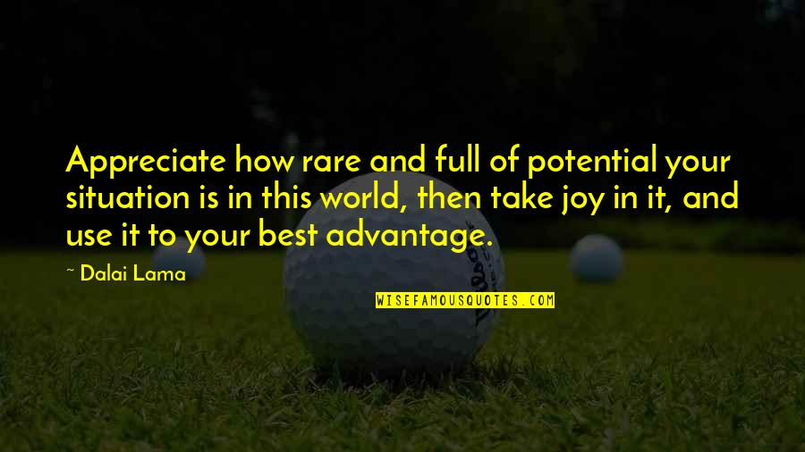 How To Take Over The World Quotes By Dalai Lama: Appreciate how rare and full of potential your