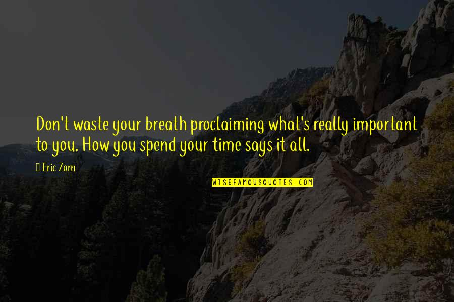 How We Spend Our Time Quotes By Eric Zorn: Don't waste your breath proclaiming what's really important
