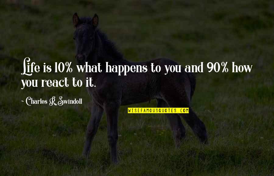 How You React Quotes By Charles R. Swindoll: Life is 10% what happens to you and