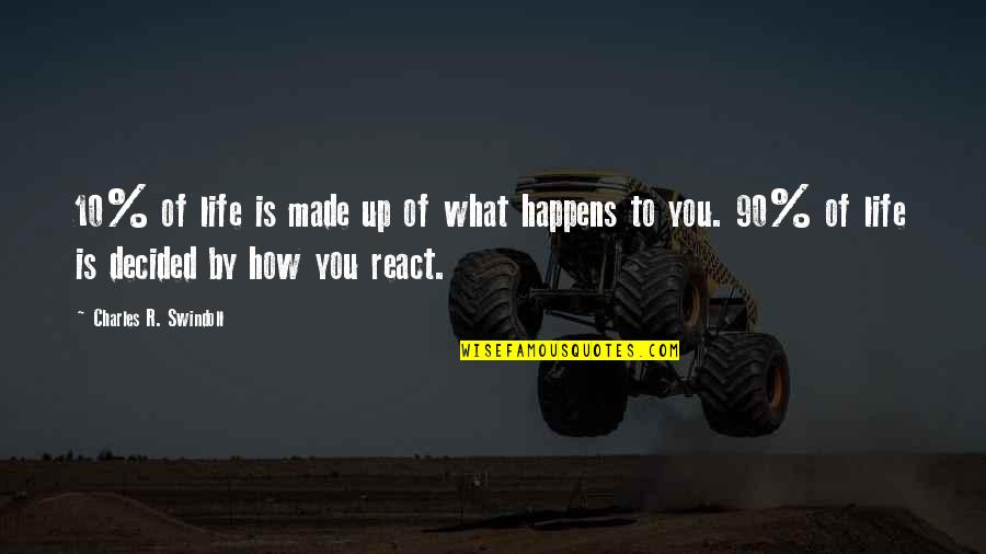 How You React Quotes By Charles R. Swindoll: 10% of life is made up of what