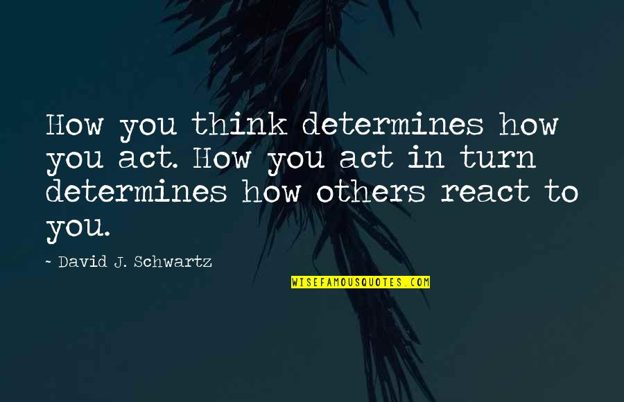 How You React Quotes By David J. Schwartz: How you think determines how you act. How