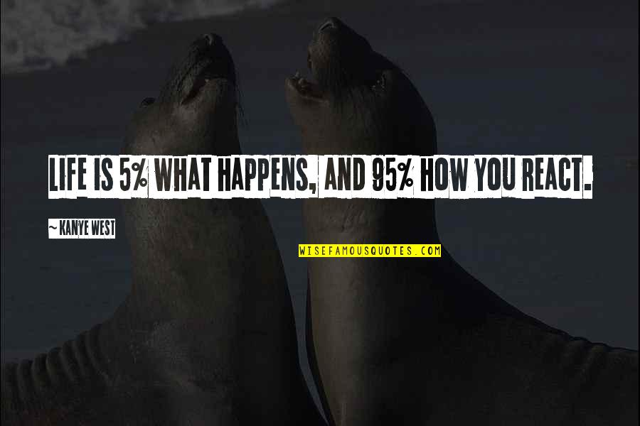 How You React Quotes By Kanye West: Life is 5% what happens, and 95% how