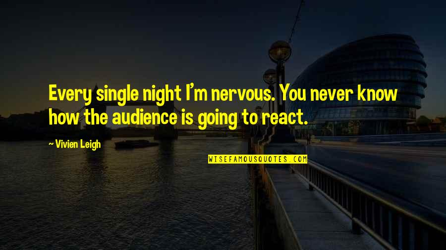 How You React Quotes By Vivien Leigh: Every single night I'm nervous. You never know