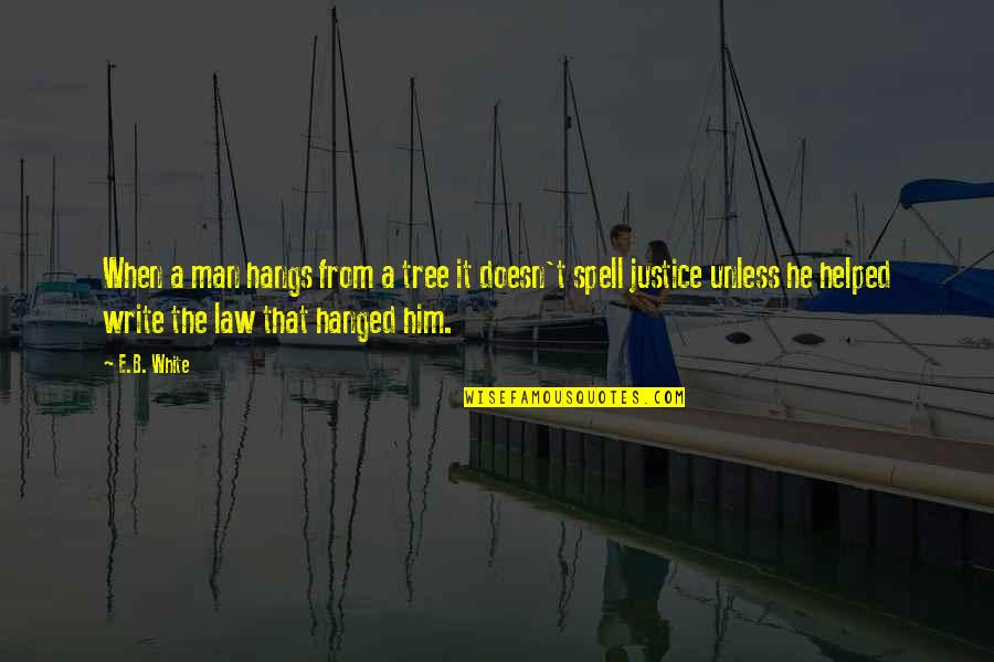 Howard Staunton Quotes By E.B. White: When a man hangs from a tree it