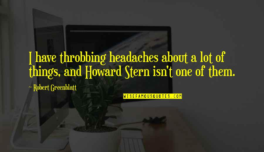 Howard Stern Quotes By Robert Greenblatt: I have throbbing headaches about a lot of