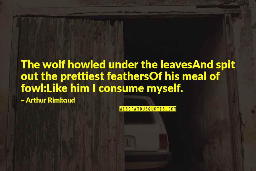 Howled Quotes By Arthur Rimbaud: The wolf howled under the leavesAnd spit out