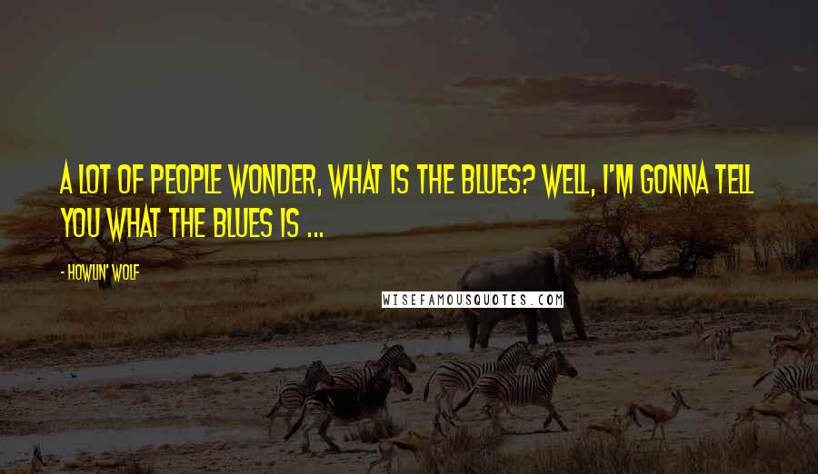 Howlin' Wolf quotes: A lot of people wonder, what is the blues? Well, I'm gonna tell you what the blues is ...