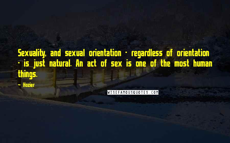 Hozier quotes: Sexuality, and sexual orientation - regardless of orientation - is just natural. An act of sex is one of the most human things.