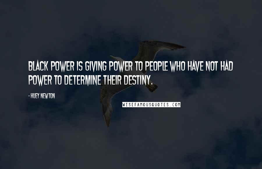 Huey Newton quotes: Black Power is giving power to people who have not had power to determine their destiny.