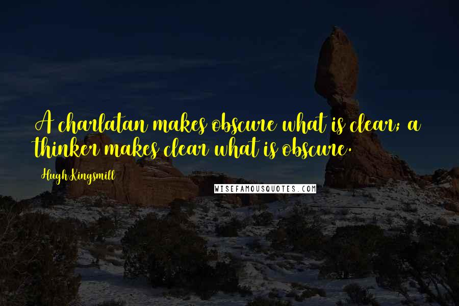 Hugh Kingsmill quotes: A charlatan makes obscure what is clear; a thinker makes clear what is obscure.
