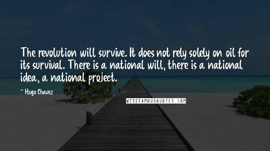 Hugo Chavez quotes: The revolution will survive. It does not rely solely on oil for its survival. There is a national will, there is a national idea, a national project.