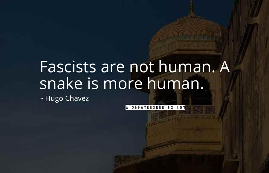 Hugo Chavez quotes: Fascists are not human. A snake is more human.