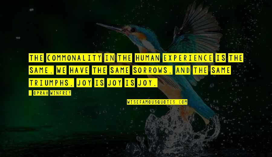 Human Commonality Quotes By Oprah Winfrey: The commonality in the human experience is the