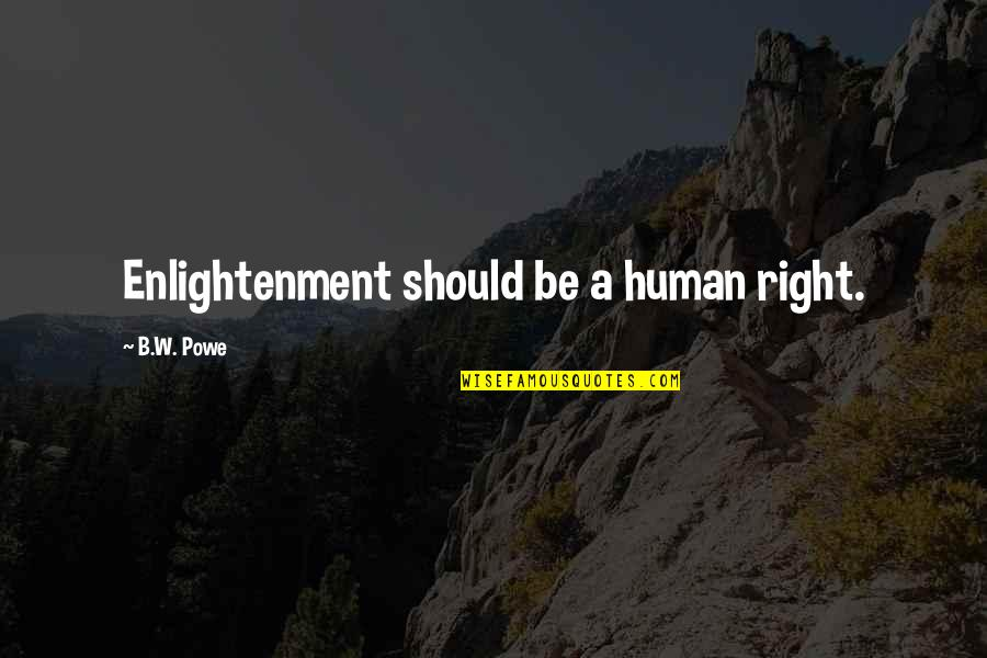 Human Right Quotes By B.W. Powe: Enlightenment should be a human right.