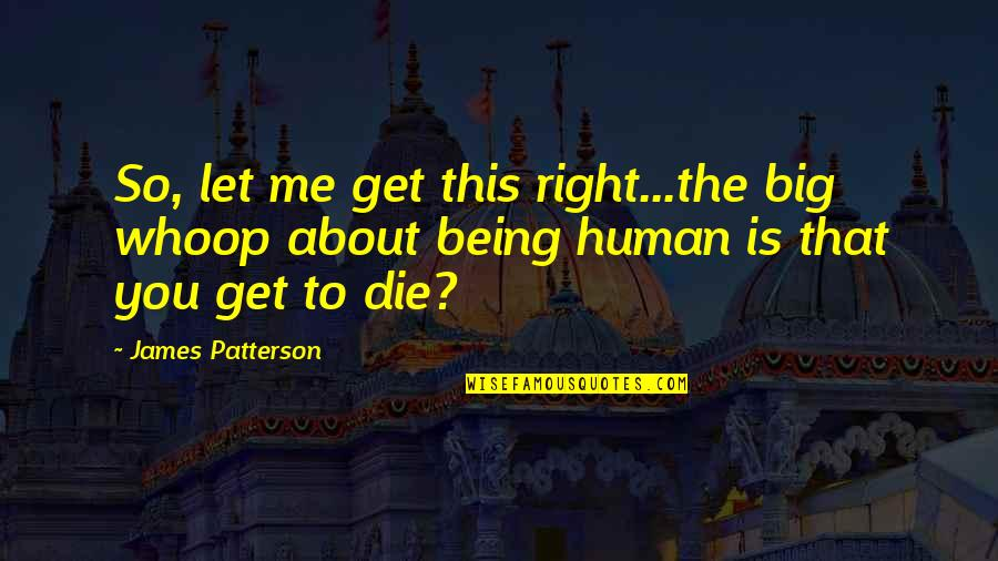 Human Right Quotes By James Patterson: So, let me get this right...the big whoop